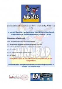 Plateau minibad Héricourt le 3 octobre Halle Cerdan